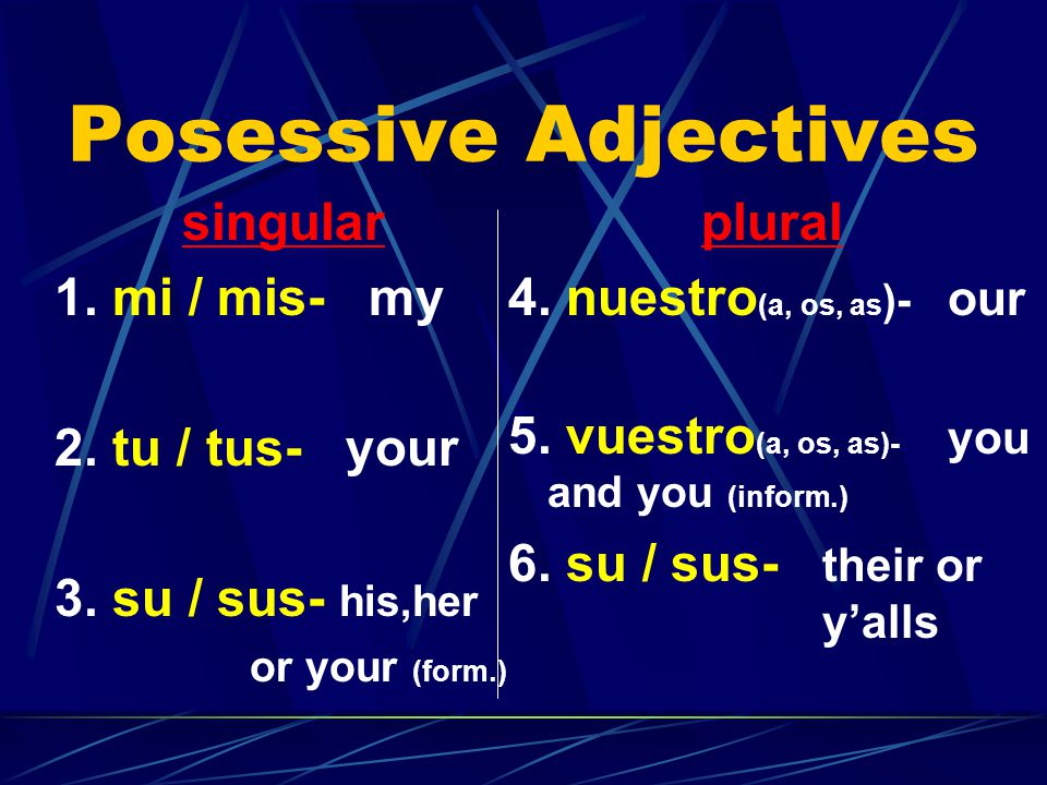 The possessive adjectives in Spanish.