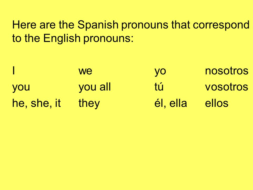 Here are the Spanish pronouns that correspond to the English pronouns: Iweyonosotros youyou alltúvosotros he, she, ittheyél, ellaellos