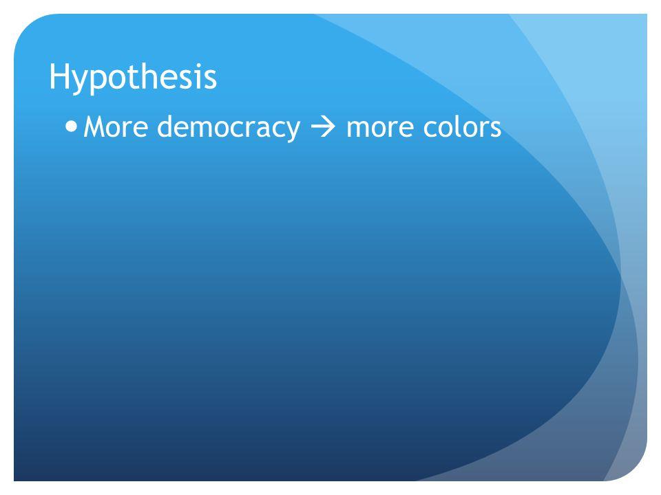 Hypothesis More democracy  more colors