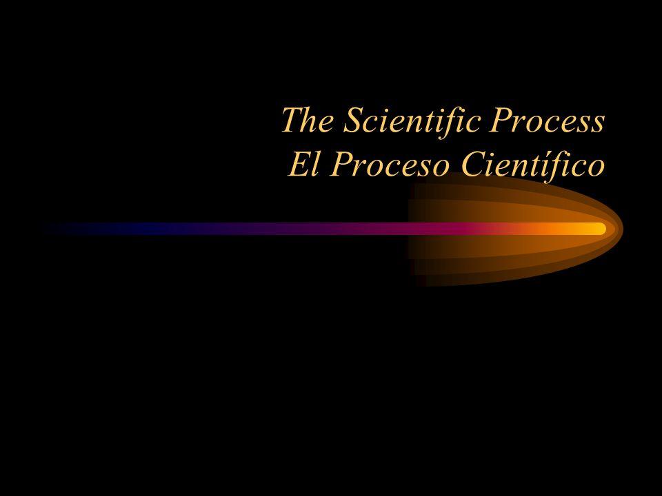 The Scientific Process Un proceso científico The Scientific Process that we will be using has six steps: El proceso científico que vamos a usar tiene seis pasos: –Question/ Pregunta –Hypothesis/ Hipótesis –Experiment/ Experimento –Data/ Datos –Analysis/ Análisis –Conclusion/Conclusiones