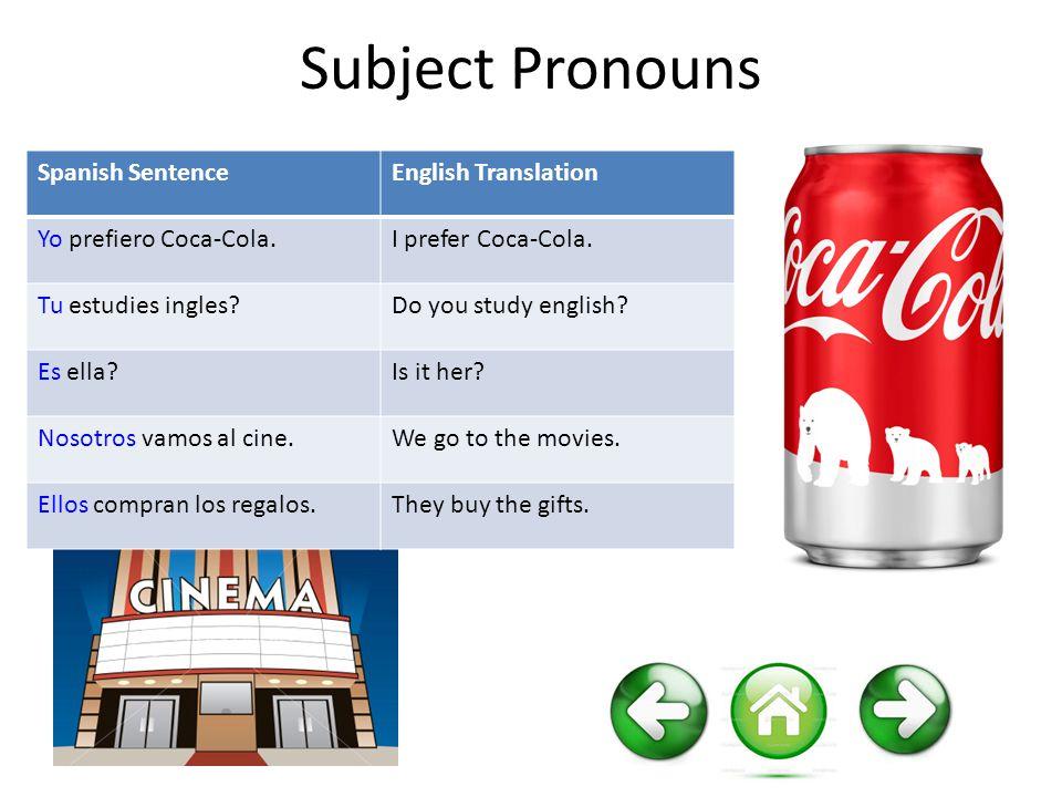 Subject Pronouns Spanish SentenceEnglish Translation Yo prefiero Coca-Cola.I prefer Coca-Cola. Tu estudies ingles?Do you study english? Es ella?Is it