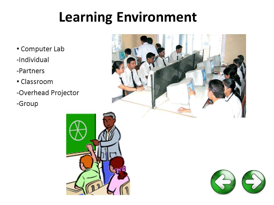 Learning Environment Computer Lab -Individual -Partners Classroom -Overhead Projector -Group