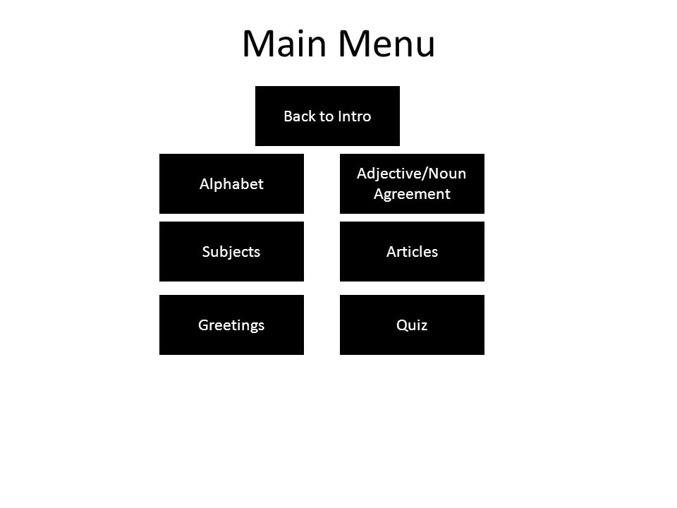 Main Menu Alphabet Subjects Greetings Articles Adjective/Noun Agreement Quiz Back to Intro