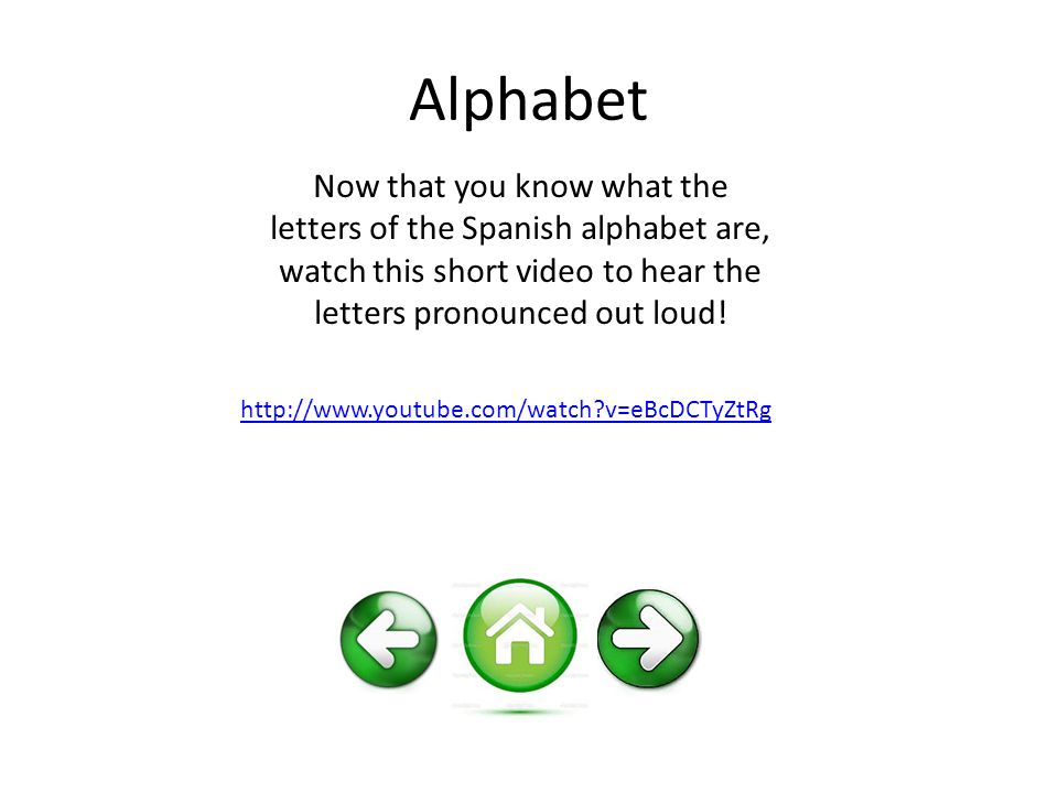 Alphabet Now that you know what the letters of the Spanish alphabet are, watch this short video to hear the letters pronounced out loud.