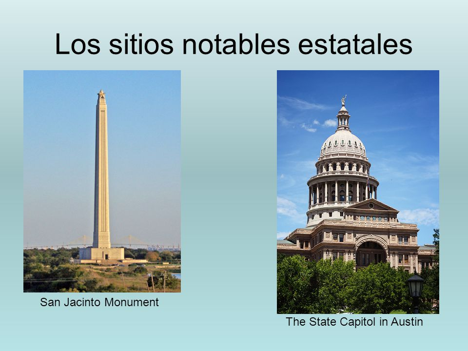 Los sitios notables estatales The State Capitol in Austin San Jacinto Monument