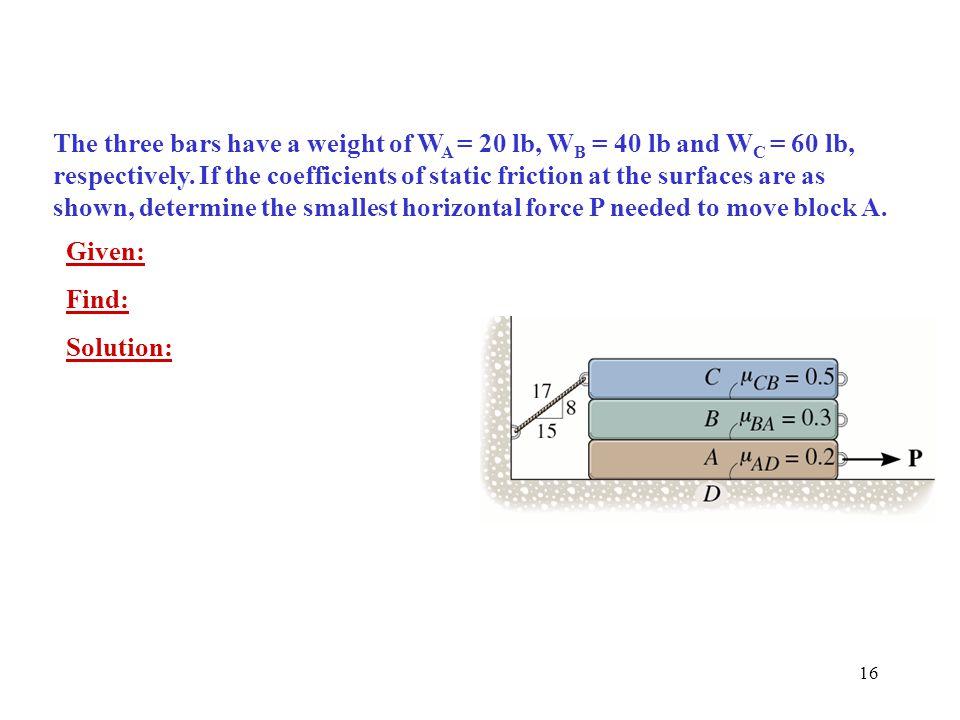 16 The three bars have a weight of W A = 20 lb, W B = 40 lb and W C = 60 lb, respectively.