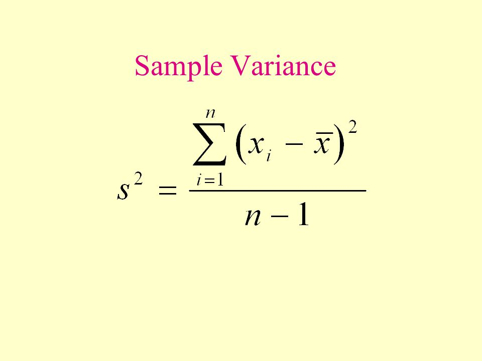Measures Of Variation Sample Range Sample Variance Sample Standard