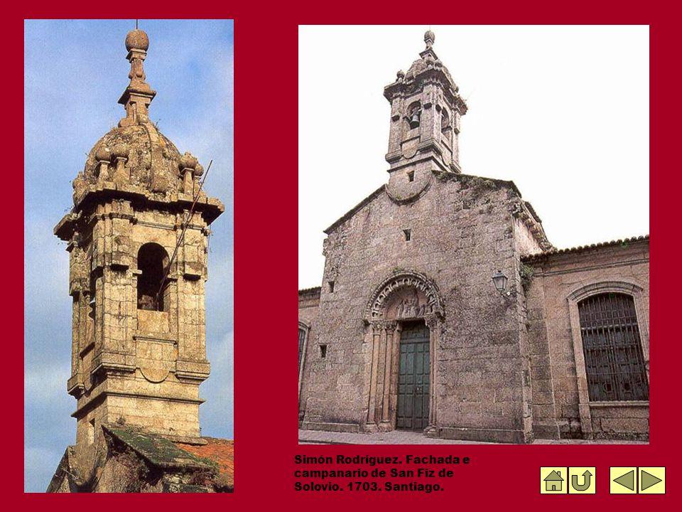 Simón Rodríguez. Fachada e campanario de San Fiz de Solovio. 1703. Santiago.
