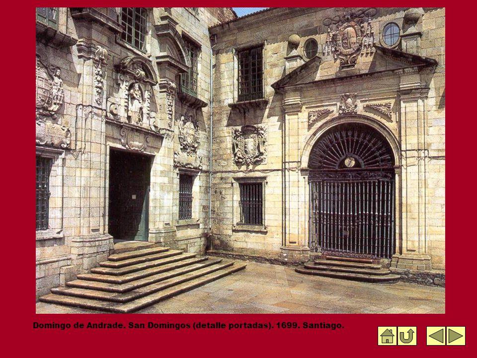 Domingo de Andrade. San Domingos (detalle portadas). 1699. Santiago.