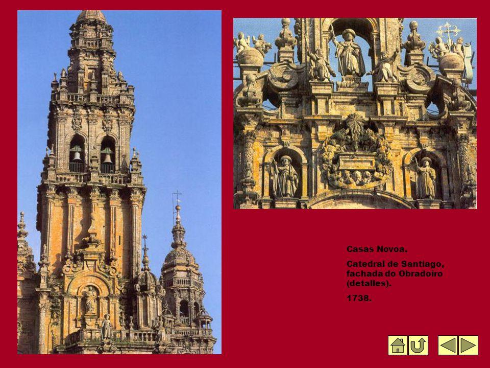 Casas Novoa. Catedral de Santiago, fachada do Obradoiro (detalles). 1738.