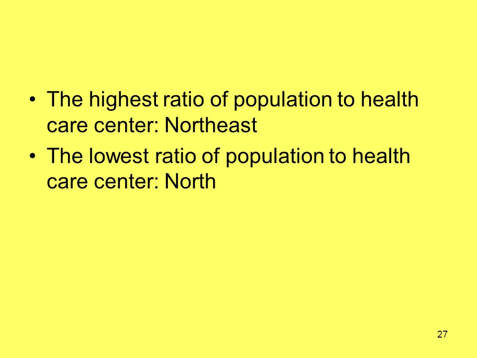 The highest ratio of population to health care center: Northeast The lowest ratio of population to health care center: North 27
