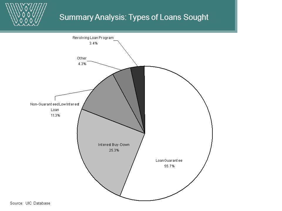 Summary Analysis: Types of Loans Sought Source: UIC Database