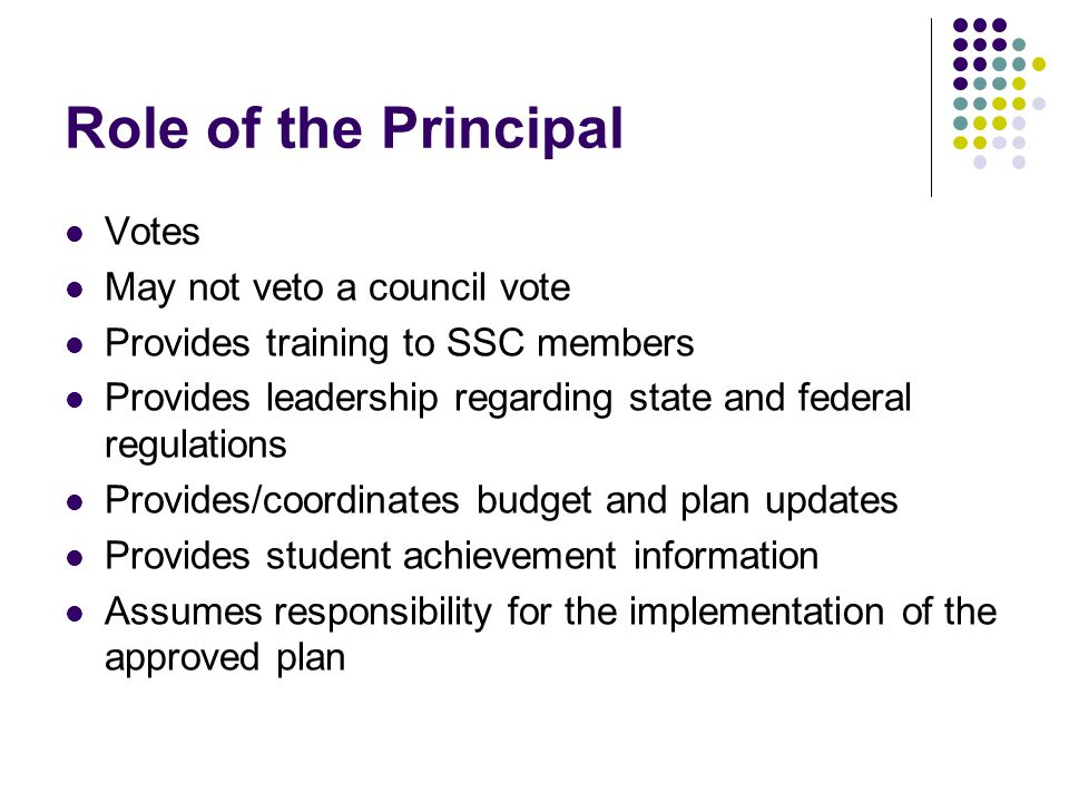 Role of the Principal Votes May not veto a council vote Provides training to SSC members Provides leadership regarding state and federal regulations Provides/coordinates budget and plan updates Provides student achievement information Assumes responsibility for the implementation of the approved plan