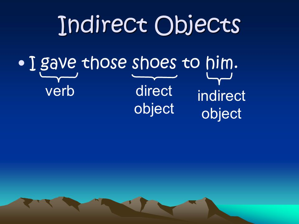 Indirect Objects I bought that skirt for her. verb direct object indirect object