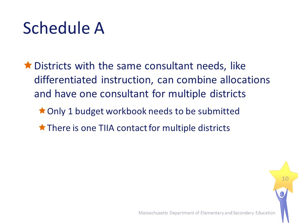 Schedule A  Districts with the same consultant needs, like differentiated instruction, can combine allocations and have one consultant for multiple districts  Only 1 budget workbook needs to be submitted  There is one TIIA contact for multiple districts Massachusetts Department of Elementary and Secondary Education 10