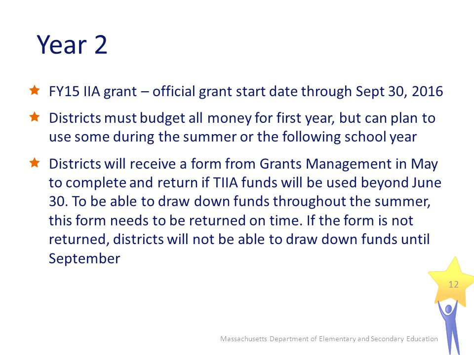 Year 2  FY15 IIA grant – official grant start date through Sept 30, 2016  Districts must budget all money for first year, but can plan to use some during the summer or the following school year  Districts will receive a form from Grants Management in May to complete and return if TIIA funds will be used beyond June 30.