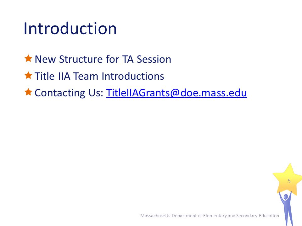 Introduction  New Structure for TA Session  Title IIA Team Introductions  Contacting Us: Massachusetts Department of Elementary and Secondary Education 5