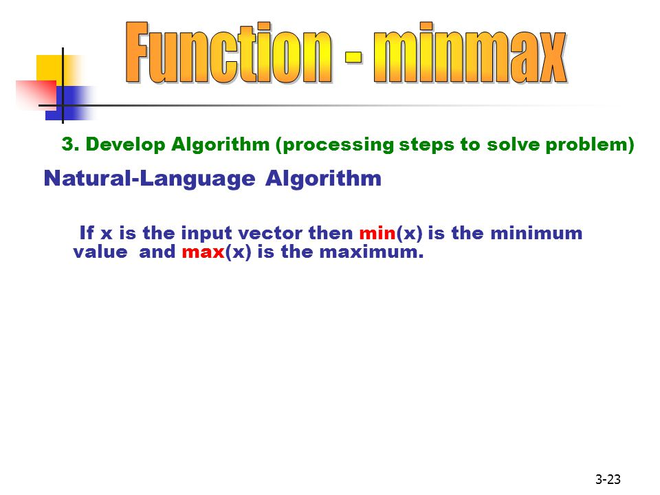 3-23 Natural-Language Algorithm If x is the input vector then min(x) is the minimum value and max(x) is the maximum.
