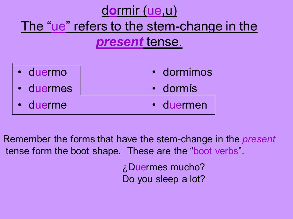 dormir (ue,u) The ue refers to the stem-change in the present tense.