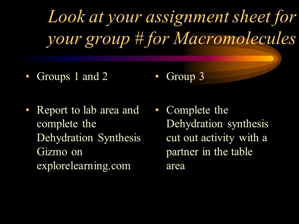 Look at your assignment sheet for your group # for Macromolecules Groups 1 and 2 Report to lab area and complete the Dehydration Synthesis Gizmo on explorelearning.com Group 3 Complete the Dehydration synthesis cut out activity with a partner in the table area