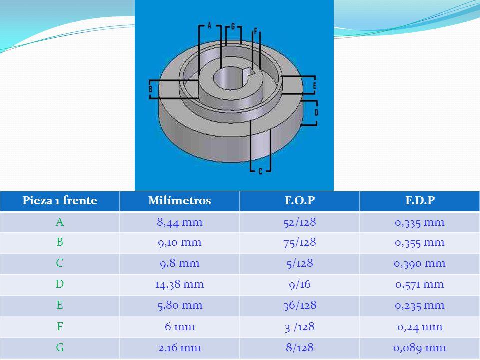 Pieza 1 frenteMilímetrosF.O.PF.D.P A8,44 mm52/1280,335 mm B9,10 mm75/1280,355 mm C9.8 mm5/1280,390 mm D14,38 mm9/160,571 mm E5,80 mm36/1280,235 mm F6