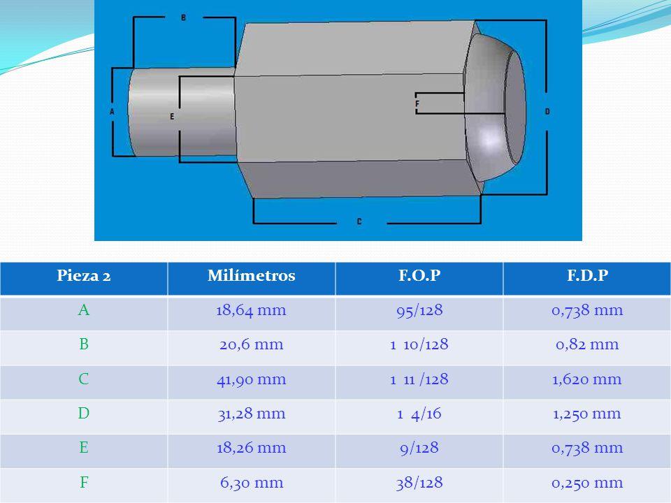 Pieza 2MilímetrosF.O.PF.D.P A18,64 mm95/1280,738 mm B20,6 mm1 10/1280,82 mm C41,90 mm1 11 /1281,620 mm D31,28 mm1 4/161,250 mm E18,26 mm9/1280,738 mm