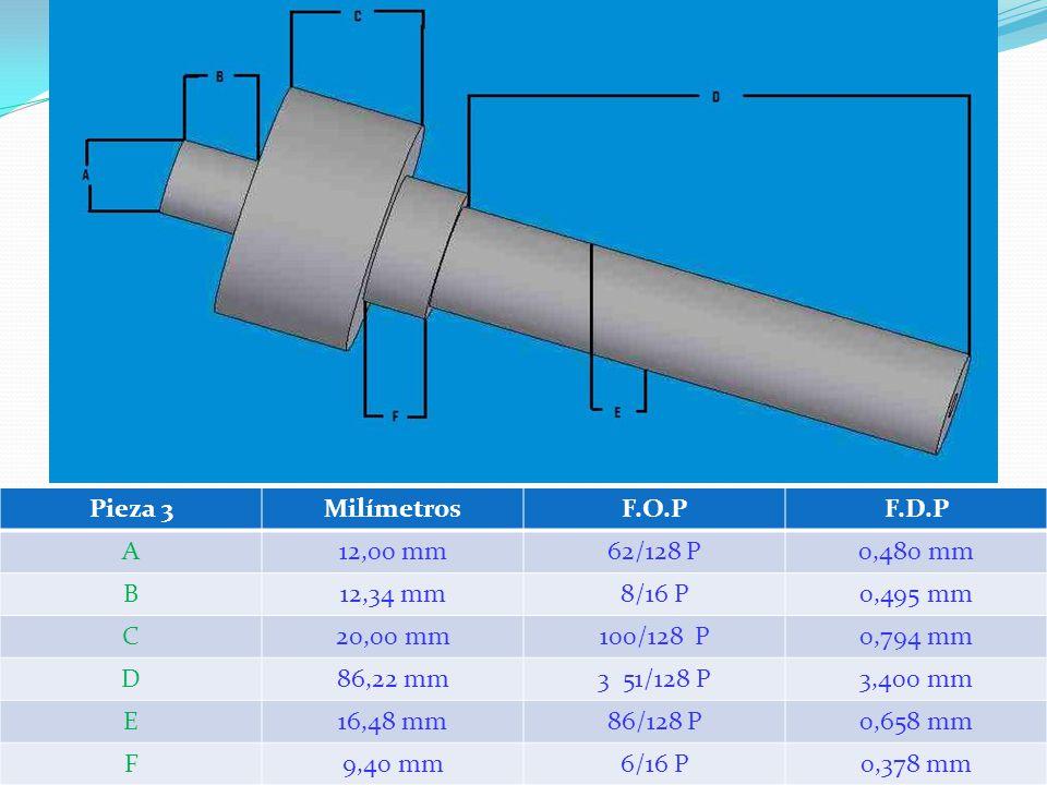 Pieza 3MilímetrosF.O.PF.D.P A12,00 mm62/128 P0,480 mm B12,34 mm8/16 P0,495 mm C20,00 mm100/128 P0,794 mm D86,22 mm3 51/128 P3,400 mm E16,48 mm86/128 P