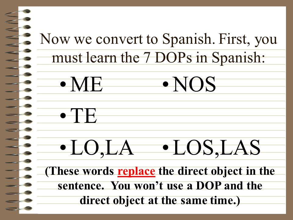 Now we convert to Spanish.
