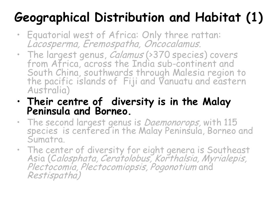 Geographical Distribution and Habitat (1) Equatorial west of Africa: Only three rattan: Lacosperma, Eremospatha, Oncocalamus.