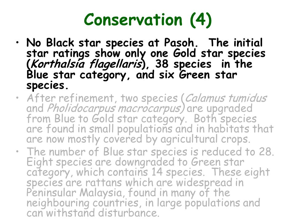 Conservation (4) No Black star species at Pasoh.