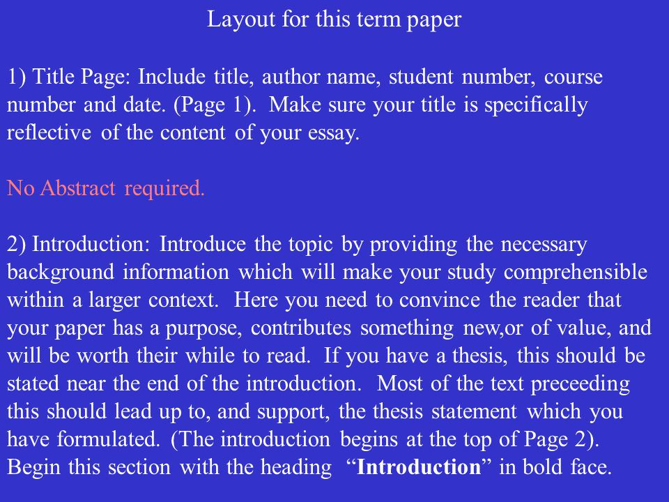 make title page term paper
