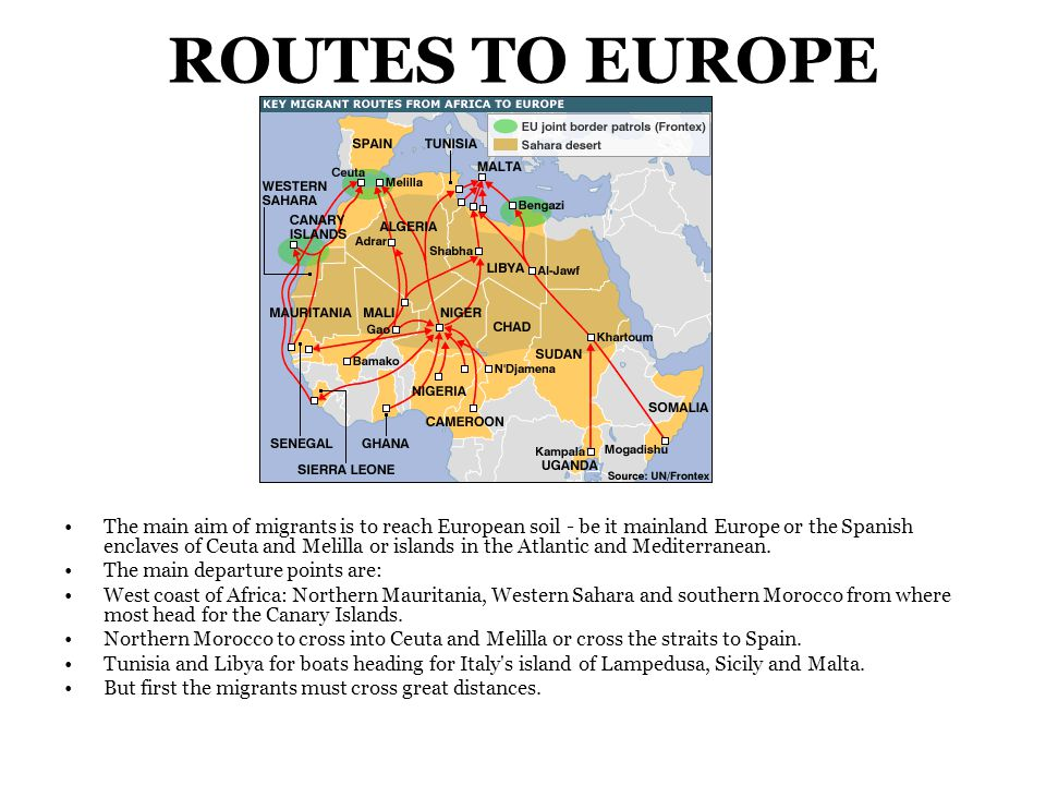 ROUTES TO EUROPE The main aim of migrants is to reach European soil - be it mainland Europe or the Spanish enclaves of Ceuta and Melilla or islands in the Atlantic and Mediterranean.
