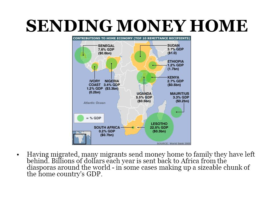 SENDING MONEY HOME Having migrated, many migrants send money home to family they have left behind.