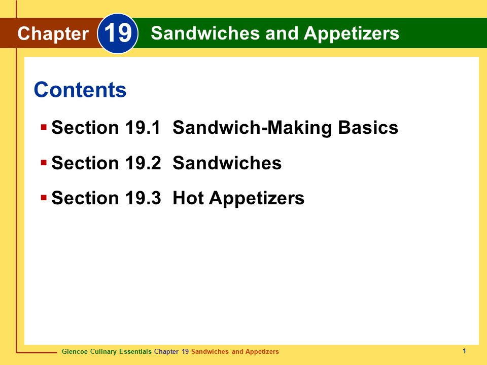 Glencoe Culinary Essentials Chapter 19 Sandwiches and Appetizers Chapter 19 Sandwiches and Appetizers 12 Sandwich fillings may include: hot or cold meats poultry fish cheeses vegetables a combination of these items Sandwich Fillings