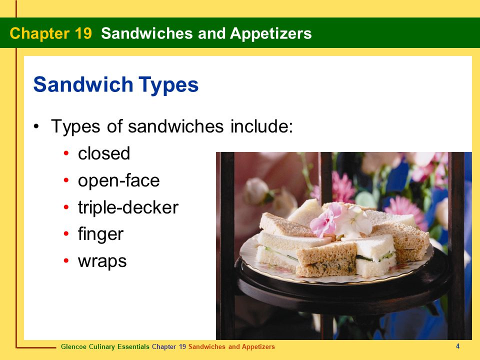 Glencoe Culinary Essentials Chapter 19 Sandwiches and Appetizers Chapter 19 Sandwiches and Appetizers 25 Types of hot appetizers include: brochettes filled pastry shells meatballs rumaki stuffed potato skins chicken wings Make Hot Appetizers brochette A combination of meat, poultry, fish, and vegetables served on a small skewer.