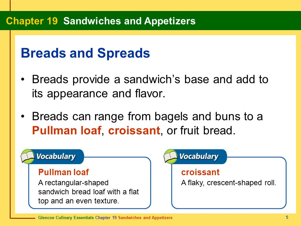 Glencoe Culinary Essentials Chapter 19 Sandwiches and Appetizers Chapter 19 Sandwiches and Appetizers 46 Show Definition Accompanied by the juices obtained from roasting meat.