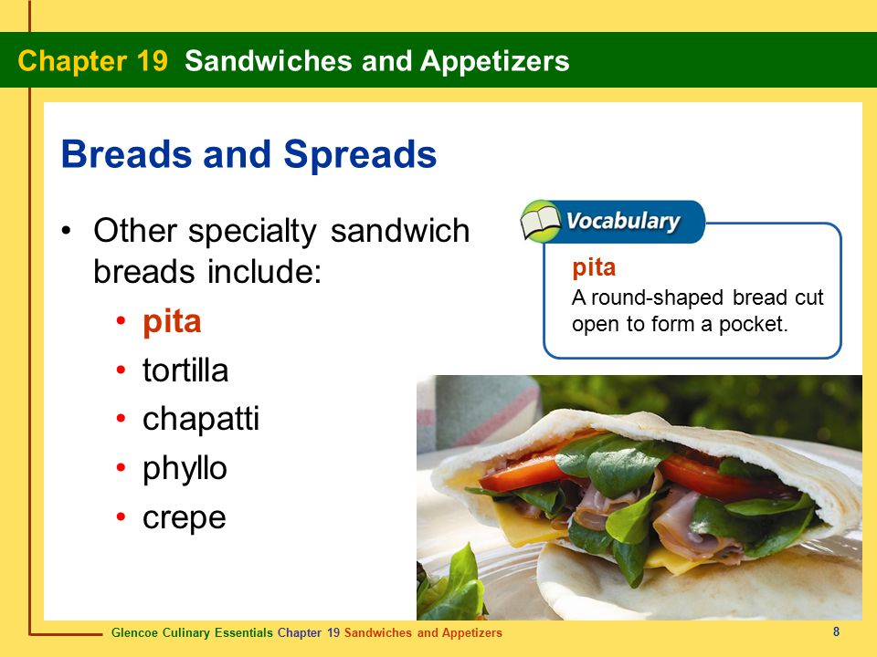Glencoe Culinary Essentials Chapter 19 Sandwiches and Appetizers Chapter 19 Sandwiches and Appetizers 9 Other specialty sandwich breads include: pita tortilla chapatti phyllo crepe Breads and Spreads tortilla A flattened, round bread baked on a griddle or deep-fried.
