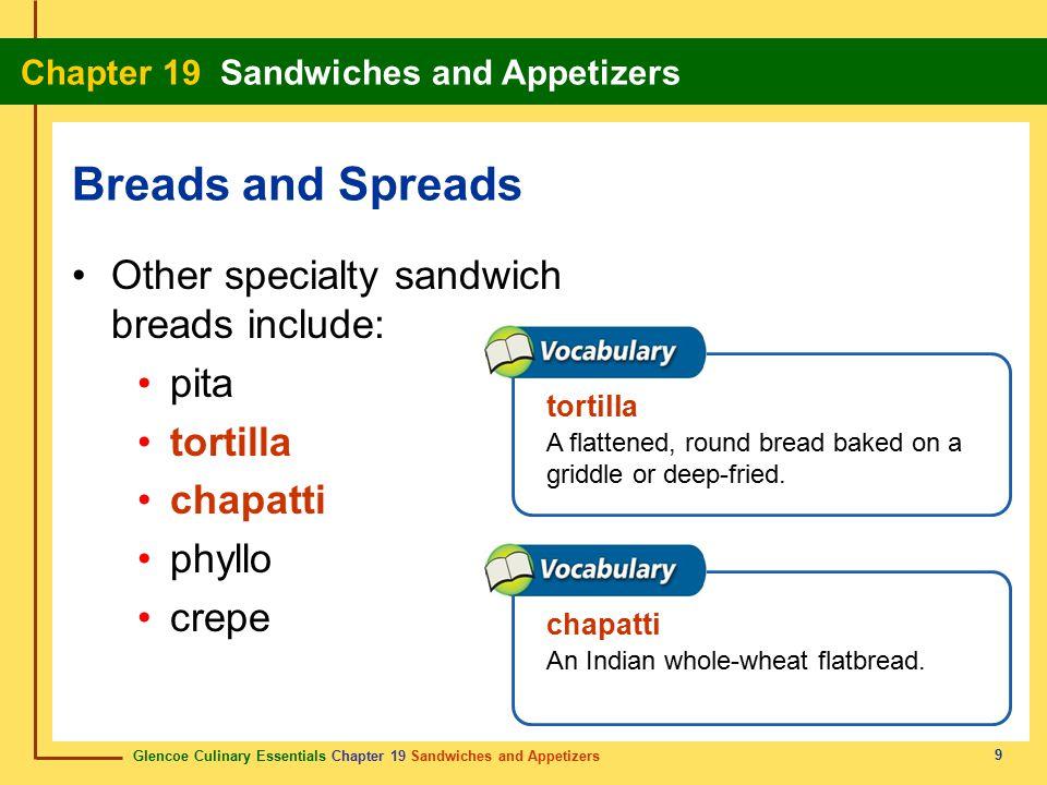 Glencoe Culinary Essentials Chapter 19 Sandwiches and Appetizers Chapter 19 Sandwiches and Appetizers 60 Show Definition About the same size.Aproximadamente del mismo tamaño.