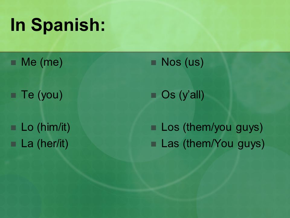 In Spanish: Me (me) Te (you) Lo (him/it) La (her/it) Nos (us) Os (y'all) Los (them/you guys) Las (them/You guys)