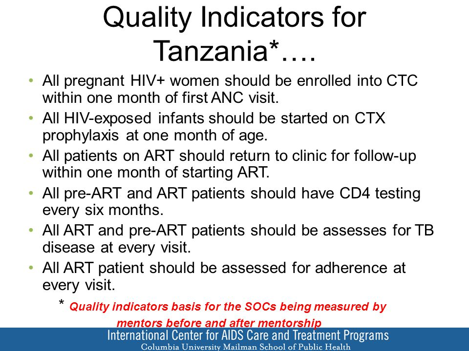 Quality Indicators for Tanzania*….