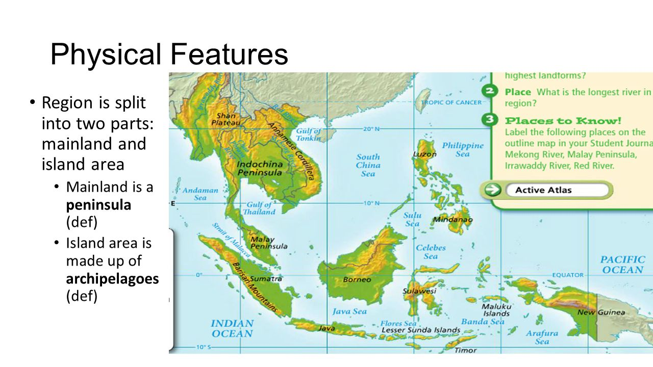 the physical features of southeast asia