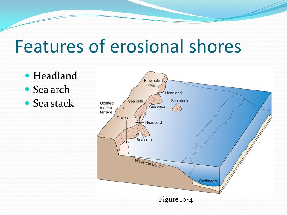 Features of erosional shores Headland Sea arch Sea stack Figure 10-4