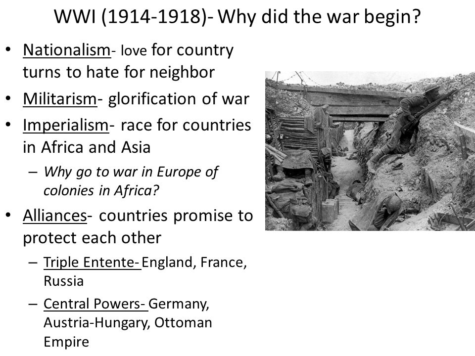germany as a cause of wwi Major causes of world war i because britain had a large navy, germany wanted a large navy too germany and france competed to build larger armies many.