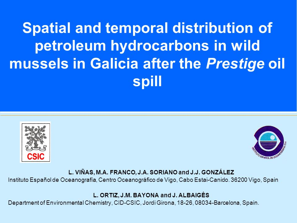 Spatial and temporal distribution of petroleum hydrocarbons in wild mussels in Galicia after the Prestige oil spill L.