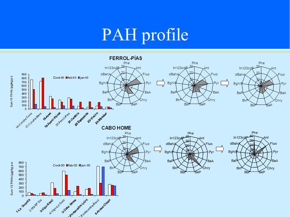 PAH profile 0 10 20 30 Phe Ant Fluo Pyr BaA Chry BeP BbF BkF BaP BghiP dBahA In123cdP CABO HOME Pyr BaA Pyr BaA 0 10 20 30 40 Phe Ant Fluo Chry BePBbF BkF BaP BghiP dBahA In123cdP 0 10 20 30 40 Phe Ant Fluo Chry BeP BbF BkF BaP BghiP dBahA In123cdP 0 10 20 30 40 Phe Ant Fluo Pyr BaA Chry BePBbF BkF BaP BghiP dBahA In123cdP 0 10 20 30 40 Phe Ant Fluo Pyr BaA Chry BePBbF BkF BaP BghiP dBahA In123cdP FERROL-PÍAS 0 10 20 30 Phe Ant Fluo Pyr BaA Chry BePBbF BkF BaP BghiP dBahA In123cdP 0 10 20 30 Phe Ant Fluo Pyr BaA Chry BePBbF BkF BaP BghiP dBahA In123cdP 0 10 20 30 Phe Ant Fluo Pyr BaA Chry BeP BbF BkF BaP BghiP dBahA In123cdP
