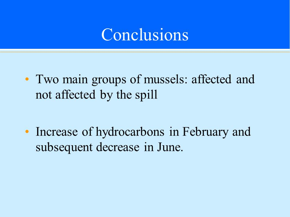 Conclusions Two main groups of mussels: affected and not affected by the spill Increase of hydrocarbons in February and subsequent decrease in June.