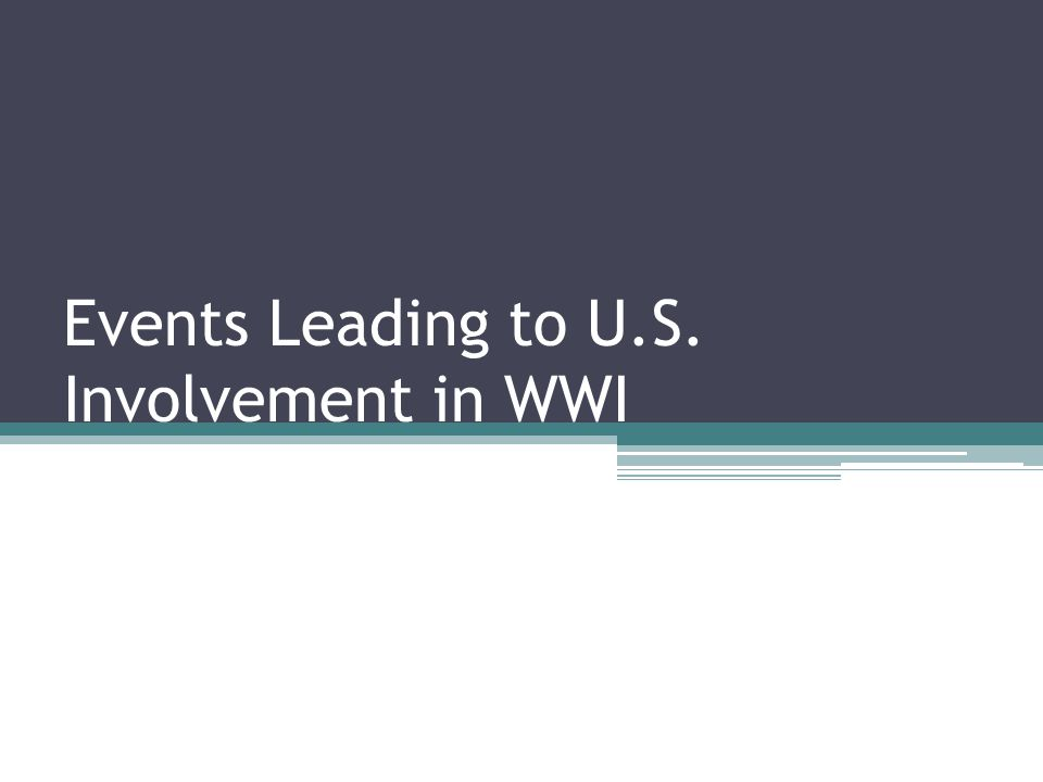 Events Leading to U.S. Involvement in WWI