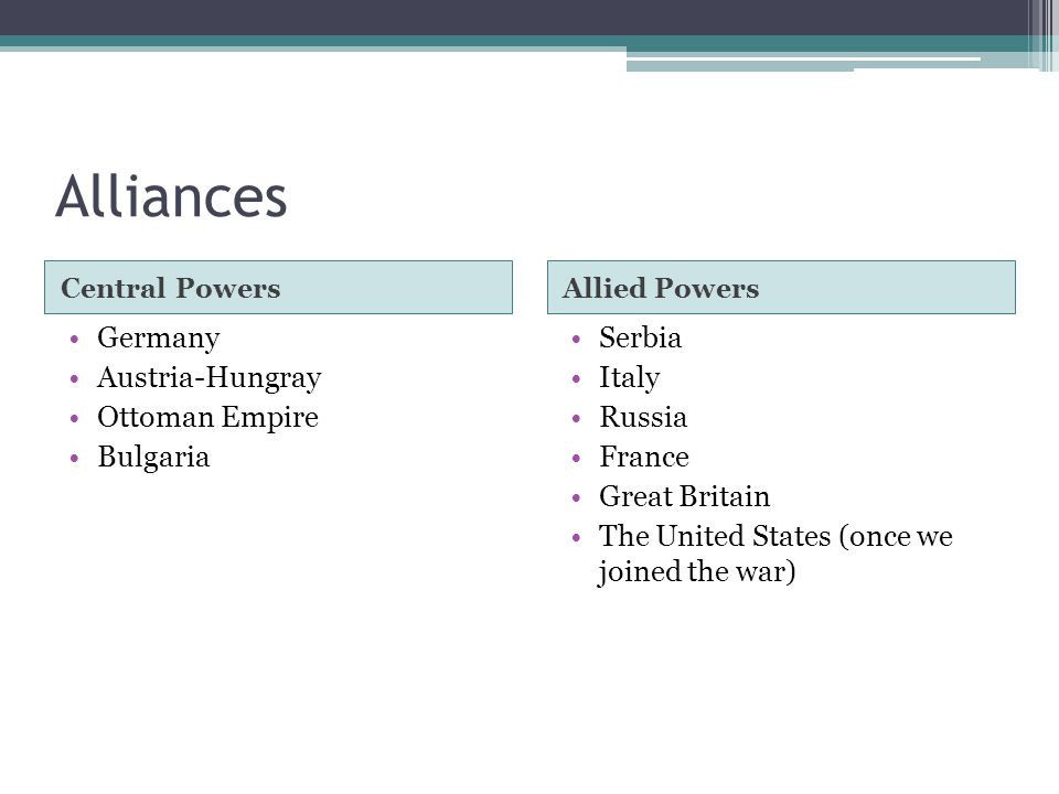 Alliances Central PowersAllied Powers Germany Austria-Hungray Ottoman Empire Bulgaria Serbia Italy Russia France Great Britain The United States (once we joined the war)