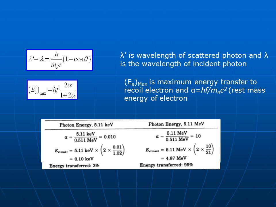 higher incident energy = less photon deflection higher incident energy = less photon deflection high energy (1MeV) photons primarily scatter forward high energy (1MeV) photons primarily scatter forward diagnostic energy photons scatter fairly uniformly diagnostic energy photons scatter fairly uniformly forward & backwardforward & backward at diagnostic energy photons lose very little energy during Compton Scattering at diagnostic energy photons lose very little energy during Compton Scattering At therapy energy level, photons lose most of energy through Compton scattering At therapy energy level, photons lose most of energy through Compton scattering higher deflection = less energy retainedhigher deflection = less energy retained Electron out (recoil electron) Photon in Photon out deflection angle -