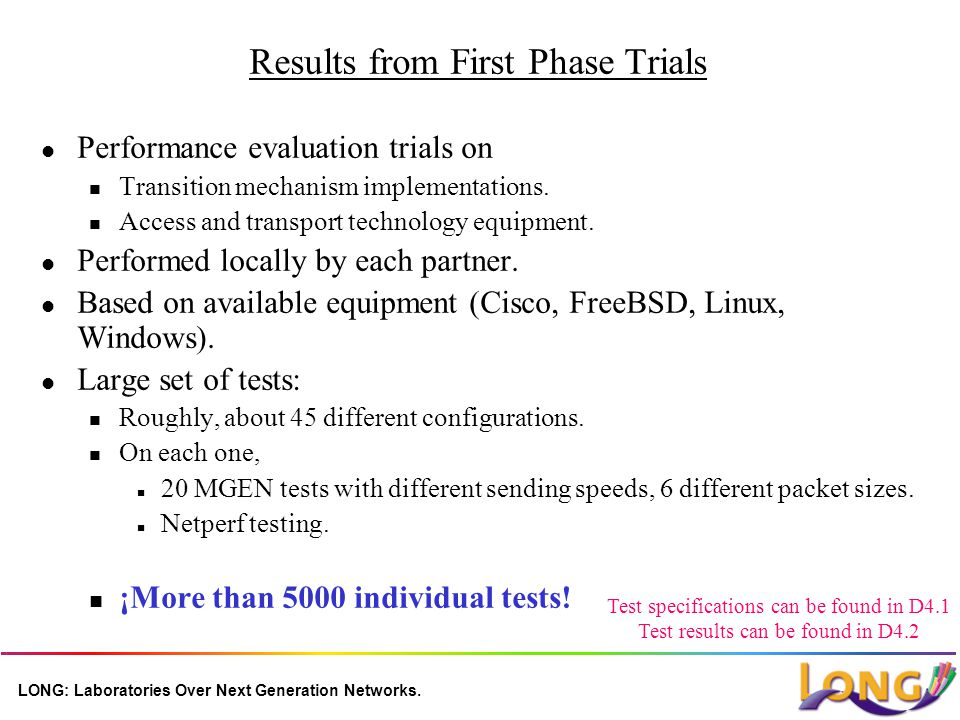 LONG: Laboratories Over Next Generation Networks. Results from First Phase Trials l Performance evaluation trials on n Transition mechanism implementa